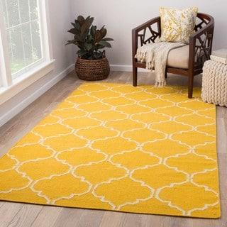 Handmade Flat Weave Geometric Pattern Yellow Rug (9' x 12')