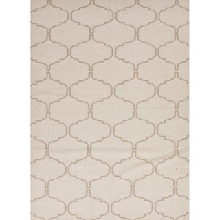 Handmade Flat Weave Moroccan Pattern Ivory Rug (9' x 12')