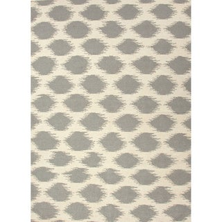 Handmade Flat Weave Tribal Pattern Grey/ White Rug (9' x 12')