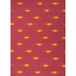 Handmade Flat Weave Tribal Pattern Pink/ Purple Rug (9' x 12')