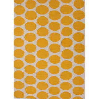 Handmade Flat-weave Geometric Pattern Yellow Area Rug (9' x 12')