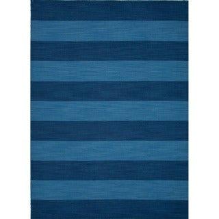 Handmade Flat-weave Stripe-patterned Blue Wool Rug (10' x 14')