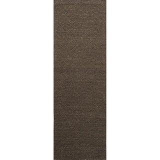 Hand-loomed Solid Pattern Brown Rug (2'6 x 8')