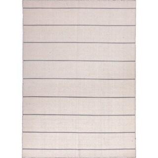 Handmade Flat Weave Stripe Pattern Ivory Rug (10' x 14')