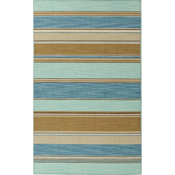 Durable Handmade Flat-weave Stripe-patterned Blue Rug (10' x 14')