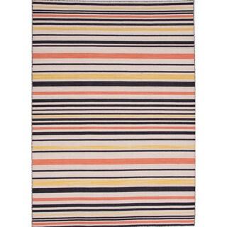 Handmade Flat-weave Stripe-pattern Multicolored Area Rug (10' x 14')