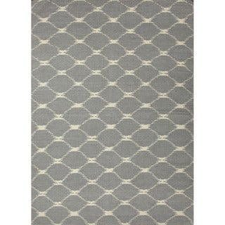 Handmade Flat-weave Geometric-pattern Blue/ Gray/ Black Rug (9' x 12')