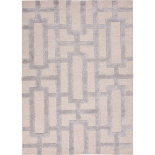 Hand-Tufted Contemporary Geometric Pattern Grey/ Silver Rug (5?x8?)