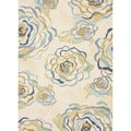 Hand-hooked Indoor/ Outdoor Floral Pattern Blue Rug (7'6 x 9'6)