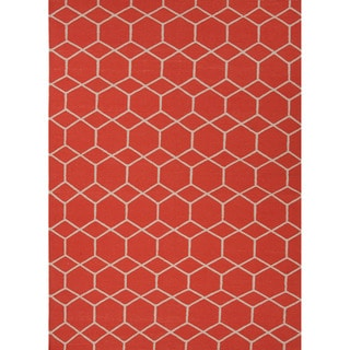 Handmade Flat Weave Geometric Pattern Orange Rug (9' x 12')