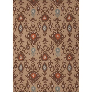 Handmade Flat Weave Tribal Pattern Brown Rug (9' x 12')