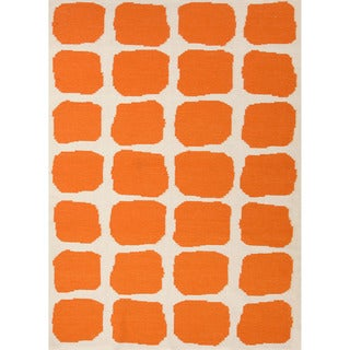 Handmade Flat Weave Abstract Pattern Red/ Orange Rug (9' x 12')