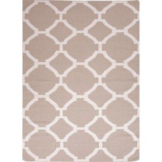 Handmade Flat Weave Geometric Pattern Brown Rug (9' x 12')