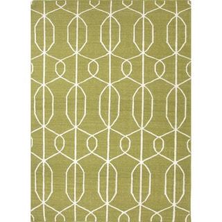 Handmade Flat Weave Geometric Pattern Green Wool Rug (9' x 12')