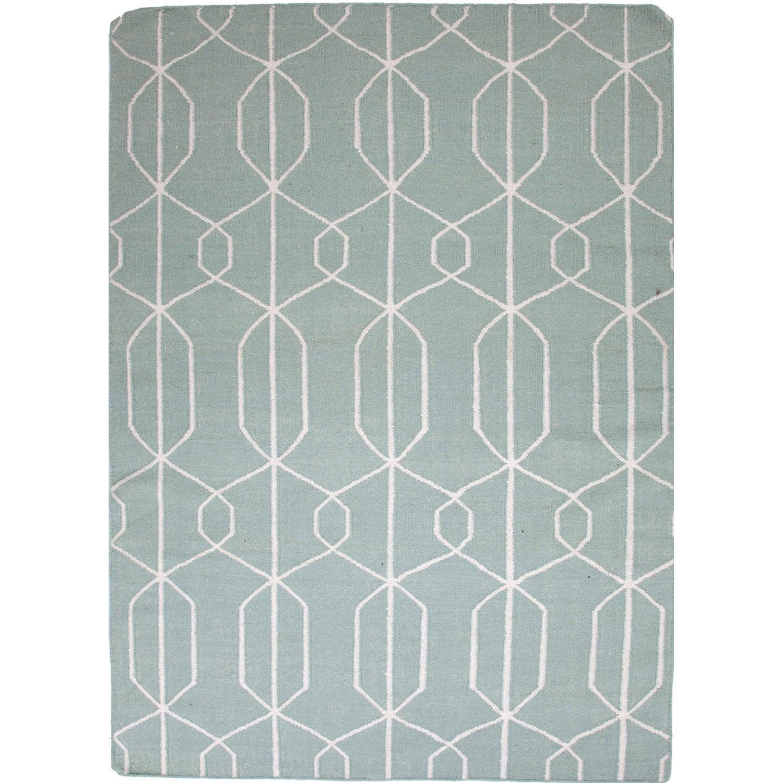 Reversible Handmade Flat-weave Geometric-pattern Blue Rug (9' x 12')