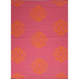 Handmade Flat Weave Moroccan Pattern Pink/ Purple Rug (9' x 12')