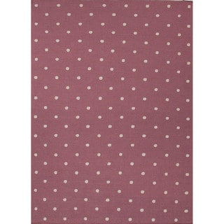 Handmade Flat Weave Geometric Pattern Pink/ Purple Rug (9' x 12')