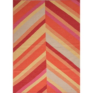 Handmade Flat-weave Stripe Pattern Red/ Orange Area Rug (9' x 12')
