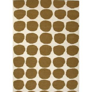 Handmade Flat Weave Geometric Pattern Reversible Green Rug (9' x 12')