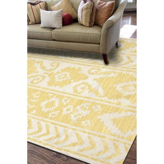 Handmade Flat Weave Tribal Pattern Yellow Rug (9' x 12')