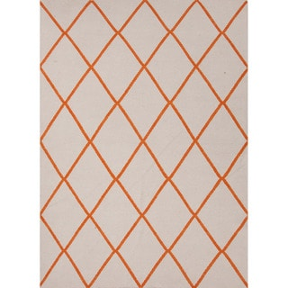 Handmade Flat Weave Geometric Pattern Red/ Orange Durable Rug (9' x 12')