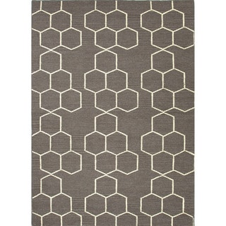 Durable Handmade Flat-weave Geometric-patterned Gray/ Black Rug (9' x 12')