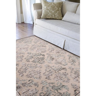 Transitional Floral Pattern Ivory Rug (9' x 12')