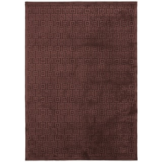 Contemporary Geometric Pattern Brown Area Rug (9' x 12')