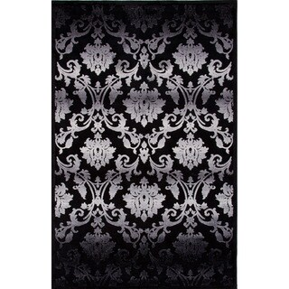 Transitional Gray/ Black Floral-pattern Area Rug (9' x 12')