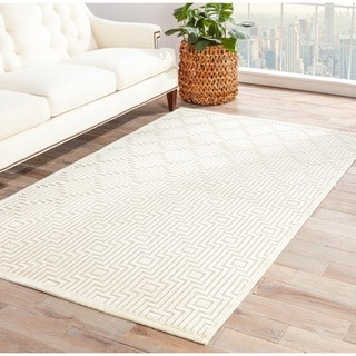 Contemporary Geometric Pattern Ivory Rug (9' x 12')