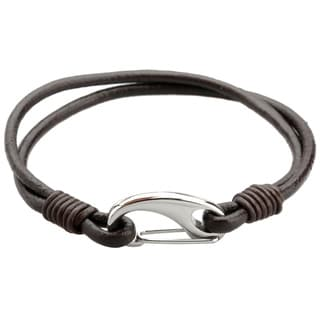 Stainless Steel and Leather Men's 8-inch Bracelet