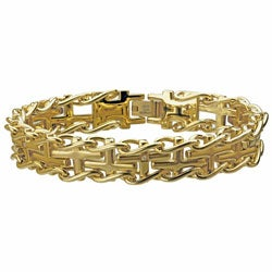 Gold Ion-plated Steel Men's Diamond Accent Cross Railroad Bracelet
