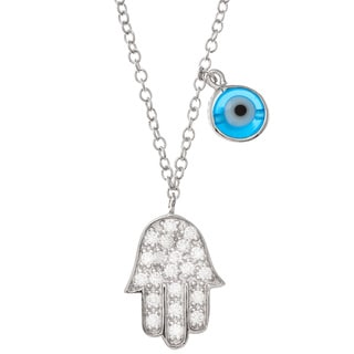 Sterling Silver Cubic Zirconia Chamsah and Evil Eye Necklace