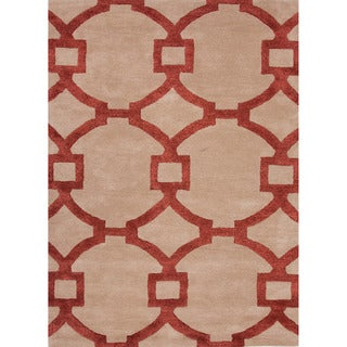 Hand-tufted Contemporary Geometric Red/ Orange Rug (9'6 x 13'6)