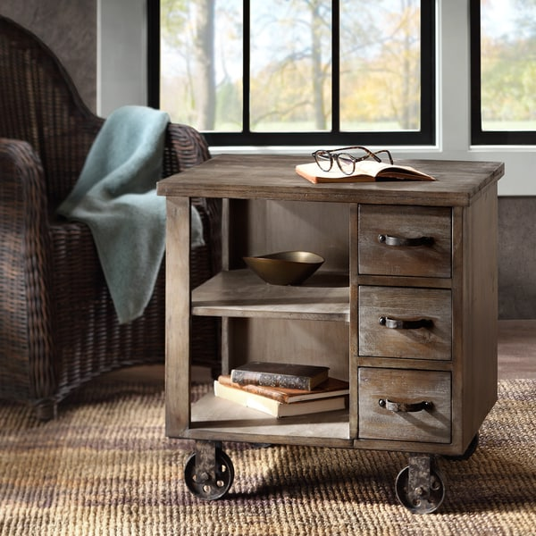 Rustic wood end table on wheels antique drawers industrial