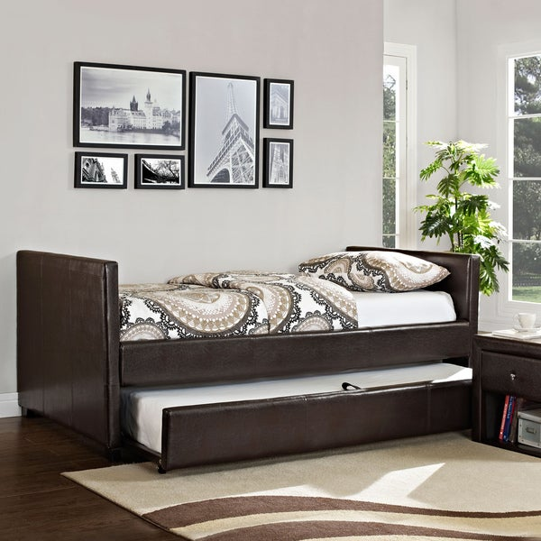 Metro Faux Leather Brown Day Bed/ Trundle