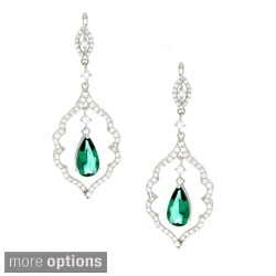 Sterling Silver Green or Blue Cubic Zirconia Dangle Earrings