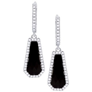Sterling Silver Simulated Onyx and Cubic Zirconia Earrings