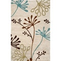 Hand-tufted Transitional Abstract Pattern Ivory Rug (5' x 7'6)