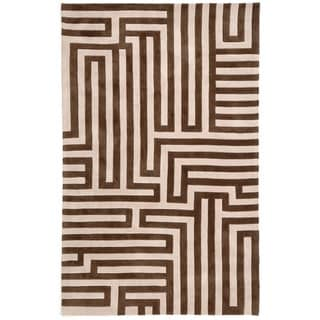 Hand-tufted Contemporary Geometric Pattern Brown Rug (3'6 x 5'6)