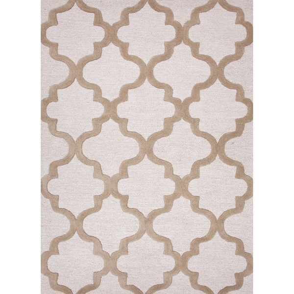 Hand-tufted Contemporary Geometric Pattern Grey/ Brown Rug (2' x 3')