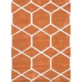 Hand-tufted Contemporary Geometric Red/ Orange Area Rug (5' x 8')