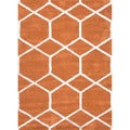 Hand-tufted Contemporary Geometric Red/ orange Rug (2' x 3')