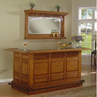Whitaker Furniture Manchester Burnished Oak Bar Mirror Set