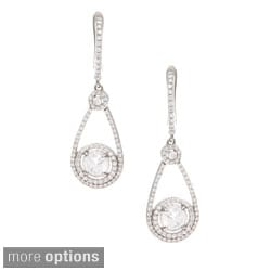 Sterling Silver Cubic Zirconia Teardrop Dangle Earrings