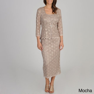 R & M Richards Women's Sequined Lace Jacket Dress