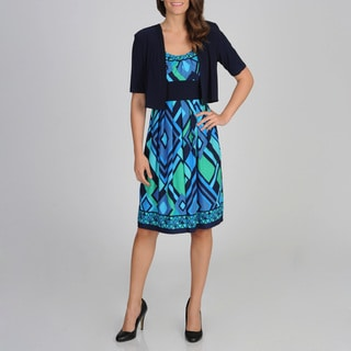 R & M Richards Women's Abstract Geometric Jacket Dress
