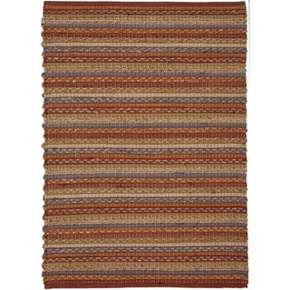 Handwoven Naturals Stripe Pattern Warm Multicolor Rug (2' x 3')