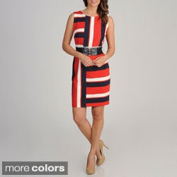 R & M Richards Women's Asymmetrical Stripe Belted Dress