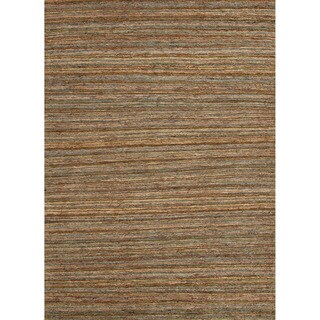 Hand-woven Naturals Stripe Pattern Blue Rug (8' x 10')